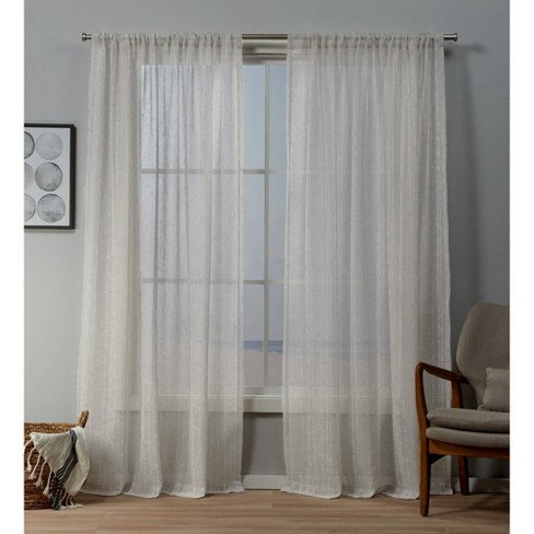 Itaji Rod Pocket Sheer Window Curtain Panels - Exclusive Home - image 1 of 4