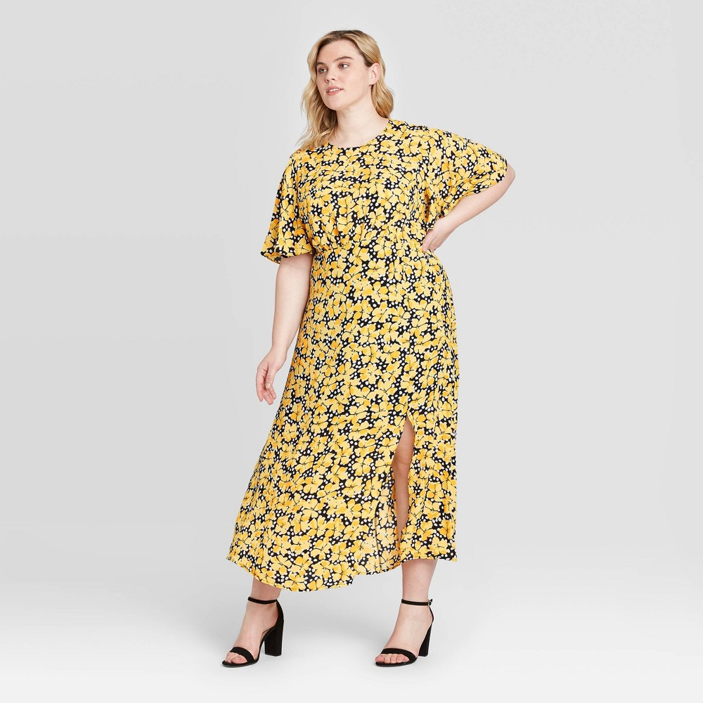 Women's Plus Size Floral Print Short Sleeve Maxi Dress - Who What Wear Yellow 1X was $39.99 now $27.99 (30.0% off)