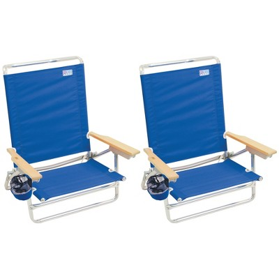 RIO Brands Classic Portable Lightweight 5 Position Aluminum Lay Flat Folding Beach Lounge Chair, Pacific Blue (2 Pack)