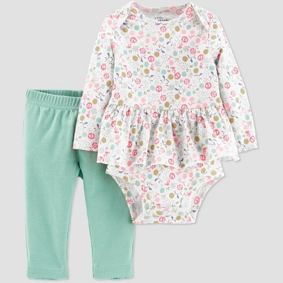 Little Planet Organic by Carters Baby Girls' Floral Bodysuit & Pants Set - Blue 6M