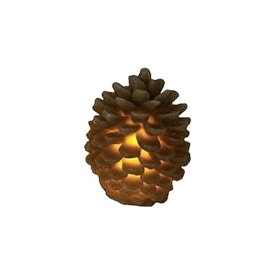 "Northlight 3.75"" Brown Battery Operated Flameless LED Lighted Flickering Pine Cone Christmas Candle"