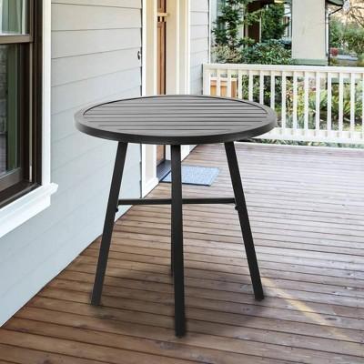 Iron Outdoor Round Bistro Dining Table Black - Nuu Garden