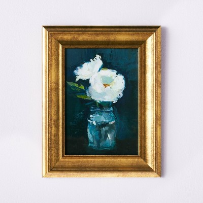 """11"""" x 14"""" Floral Arrangement Framed Wall Canvas Gold/Navy - Threshold™ designed with Studio McGee"""