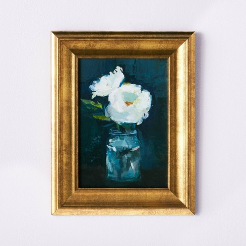 """11"""" x 14"""" Floral Arrangement Framed Wall Canvas Gold/Navy - Threshold™ designed with Studio McGee - image 1 of 4"""