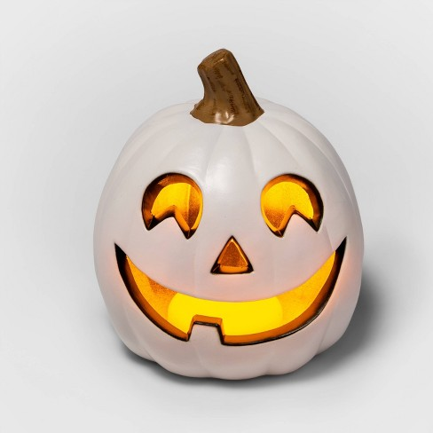 """9"""" Light Up White Happy Face Halloween Jack-O'-Lantern (1 Tooth) - Hyde & EEK! Boutique™ - image 1 of 3"""