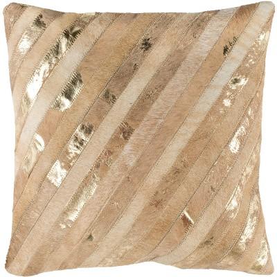 "Latta Metallic Cowhide Pillow - Beige/Gold - 20"" x 20"" - Safavieh"