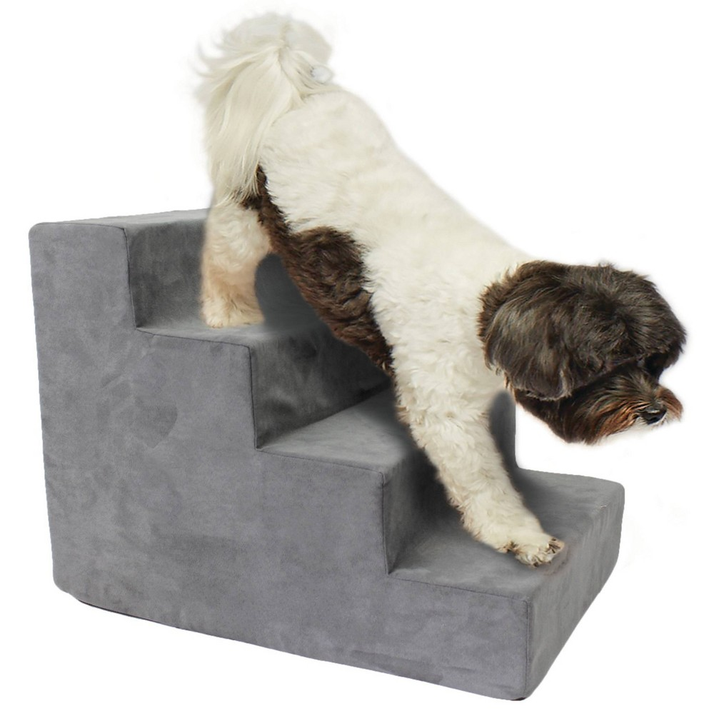 Precious Tails High Density Foam 4 Steps Dog Stairs Gray