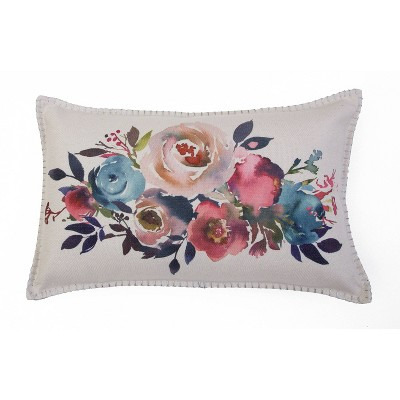 Mel Watercolor Pillow With Silver Metallic Whipstitch Pink/Green - Décor Therapy