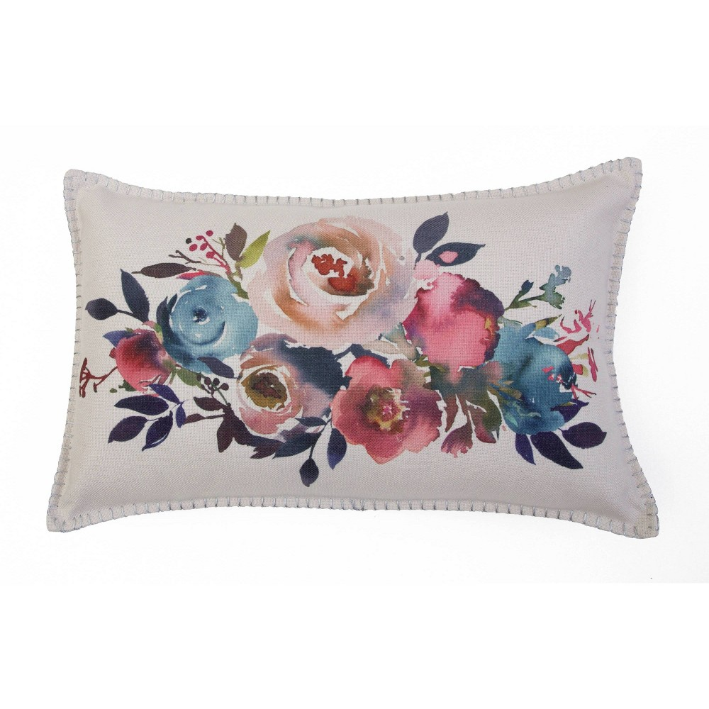 Mel Watercolor Pillow With Silver Metallic Whipstitch Pink Green D 233 Cor Therapy