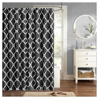 Becker Printed Geometric Shower Curtain - Black