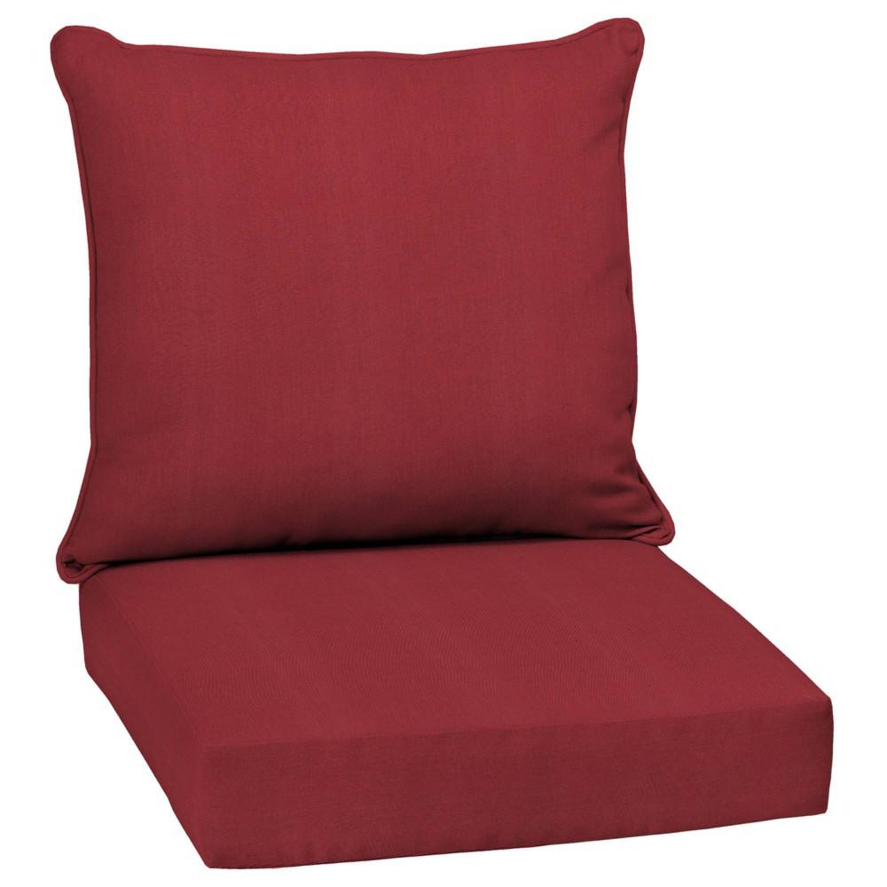 Caliente Canvas Texture Acrylic Deep Seat Outdoor Cushion Set Berry Arden Selections