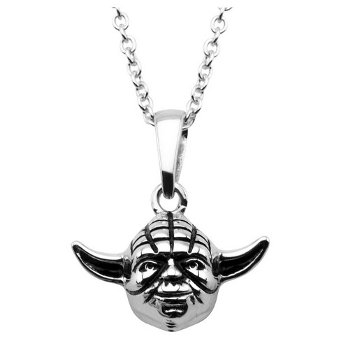 "Women's  'Star Wars'Yoda Head 925 Sterling Silver 3D Pendant with Chain (18"") - image 1 of 2"