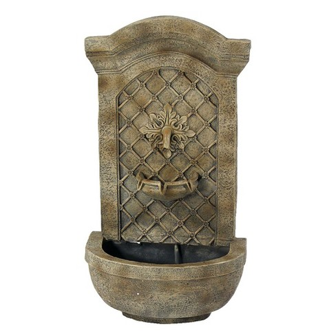 "31""H Rosette Leaf Outdoor Electric Wall Fountain - Florentine Stone Finish - Sunnydaze Decor - image 1 of 5"