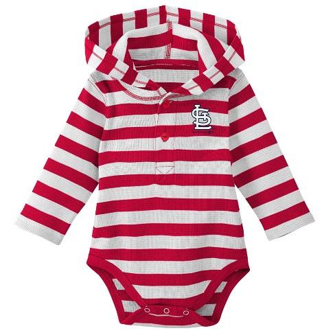 bf62edcef MLB St. Louis Cardinals Boys Striped Long Sleeve Hooded Bodysuit ...