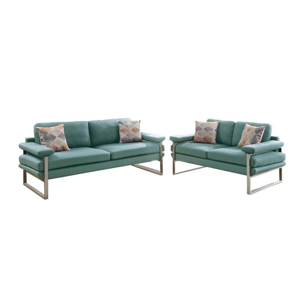 Image of 2pc Plushed Polyfiber Sofa Set Green - Benzara