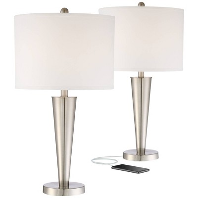 360 Lighting Modern Table Lamps Set of 2 with Hotel Style USB Charging Port Brushed Steel White Drum Shade for Living Room Family Bedroom