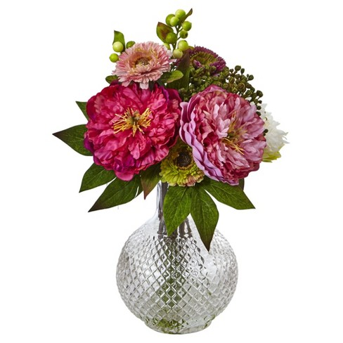 Peony & Mum in Glass Vase Pink - Nearly Natural - image 1 of 2