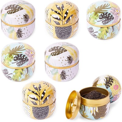 """Juvale 6-Pack 3.4"""" Floral Tin Jars Candle Containers for DIY Essential Oils Scented Candles, Colorful"""