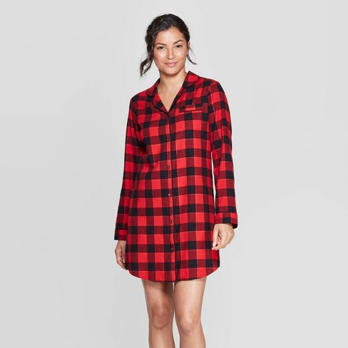 Women's Buffalo Check Perfectly Cozy Flannel Sleepshirt - Stars Above™ Red - image 1 of 2