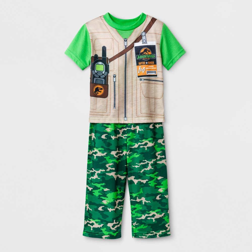 Toddler Boys' Jurassic World 2pc Pajama Set - Green 2T