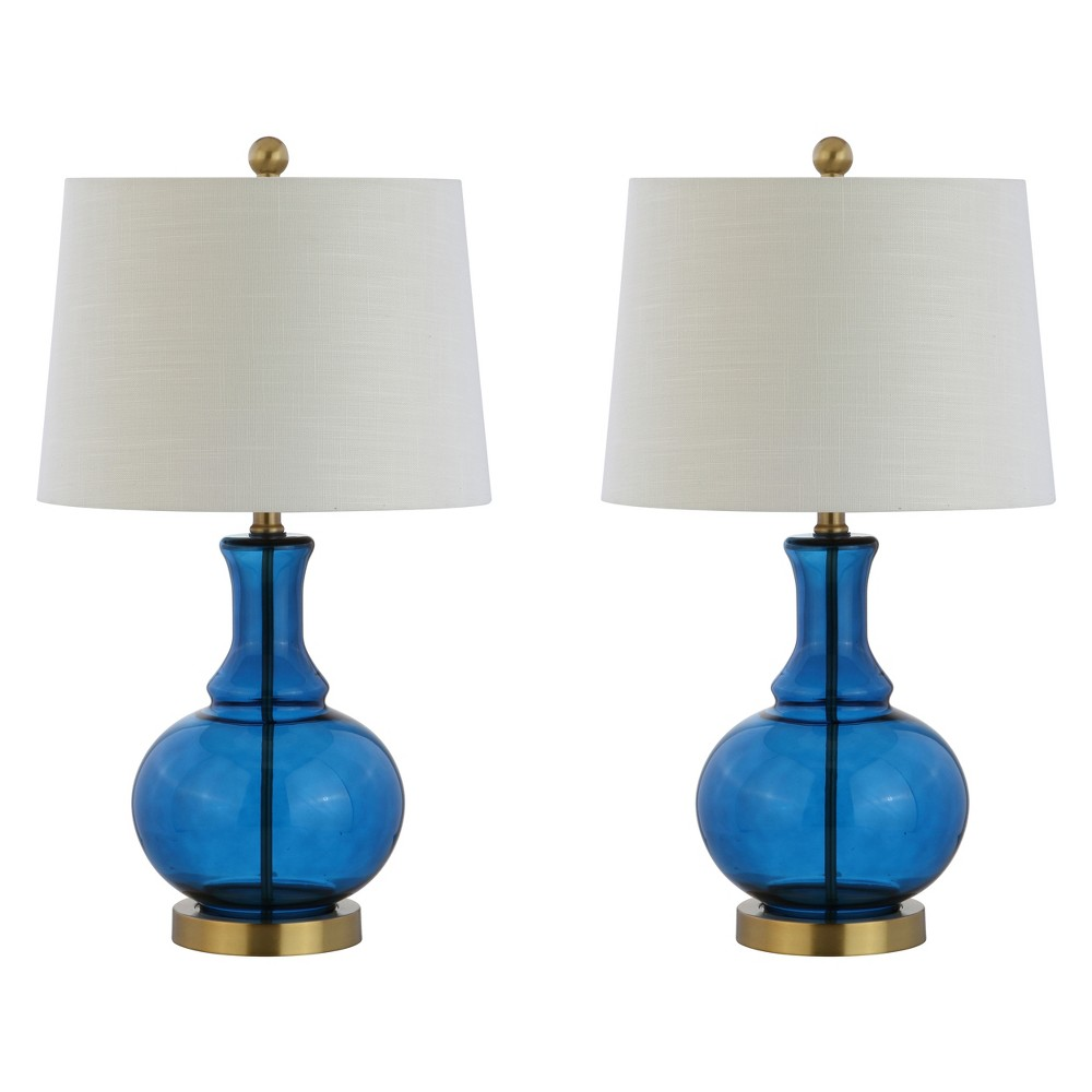25 Lavelle Glass Led Table Lamp Set Of 2 Cobalt (Blue) - Jonathan Y