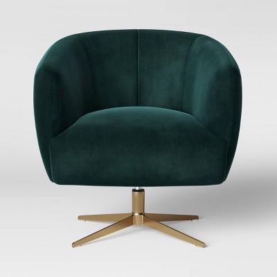 Morpho Swivel Velvet Armchair - Opalhouse™