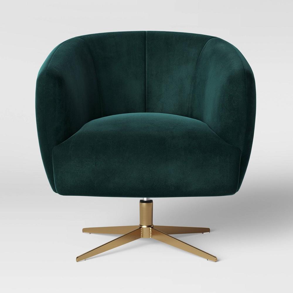 Morpho Swivel Velvet Arm Chair Forest Green - Opalhouse
