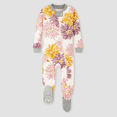 Burt's Bees Baby® Baby Girls' Sunflower Organic Cotton Footed Pajama - Gray/Yellow/Pink 3-6M