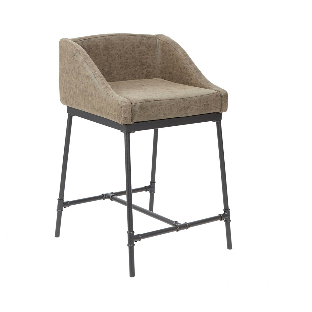 """Image of """"24"""""""" Renzo Industrial Pipe Square Stool with Back Brown - Silverwood"""""""