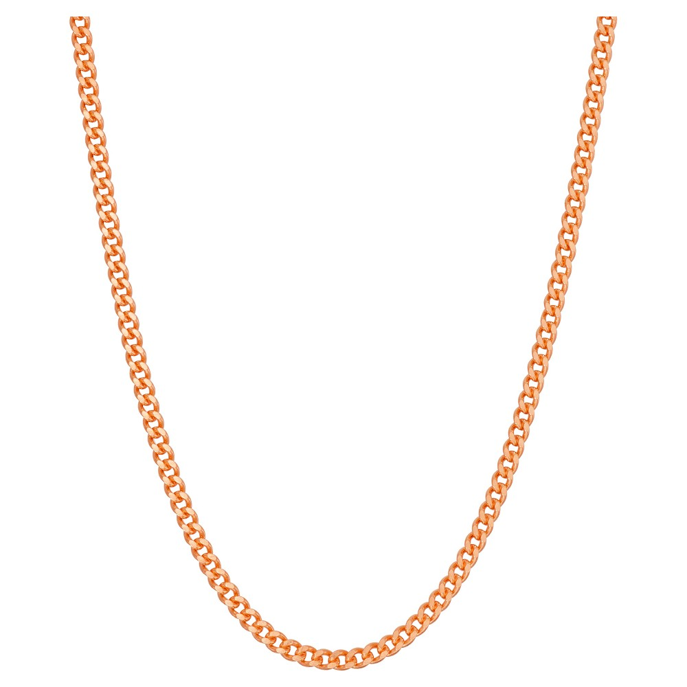 Tiara Rose Gold Over Silver 16 - 2.5 mm Curb Chain Necklace, Size: 16 inch, Pink