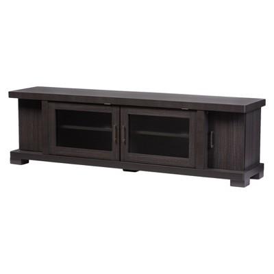 Viveka 70  Wood TV Cabinet with 2 Glass Doors and 2 Doors - Dark Brown - Baxton Studio