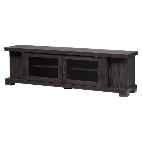"Viveka 70"" Wood TV Cabinet with 2 Glass Doors and 2 Doors - Dark Brown - Baxton Studio - image 1 of 4"