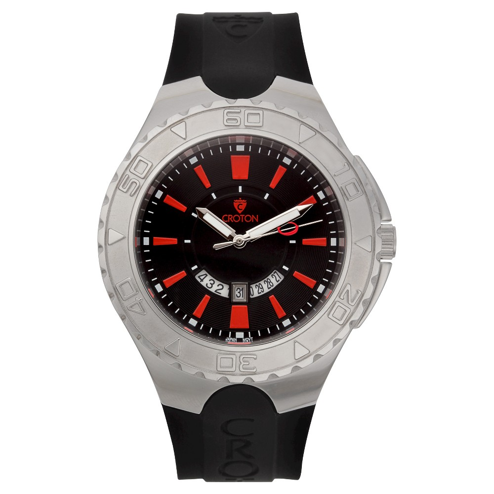 Men's Croton Analog Watch - Black With Red Markers