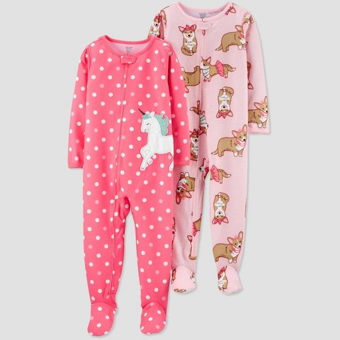 Toddler Girls' 2pk Dotted Unicorn & Corgi Footed Pajama - Just One You® made by carter's Pink - image 1 of 1