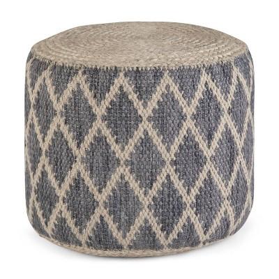 Nesbitt Round Moroccan Inspired Pouf Natural/Gray - WyndenHall
