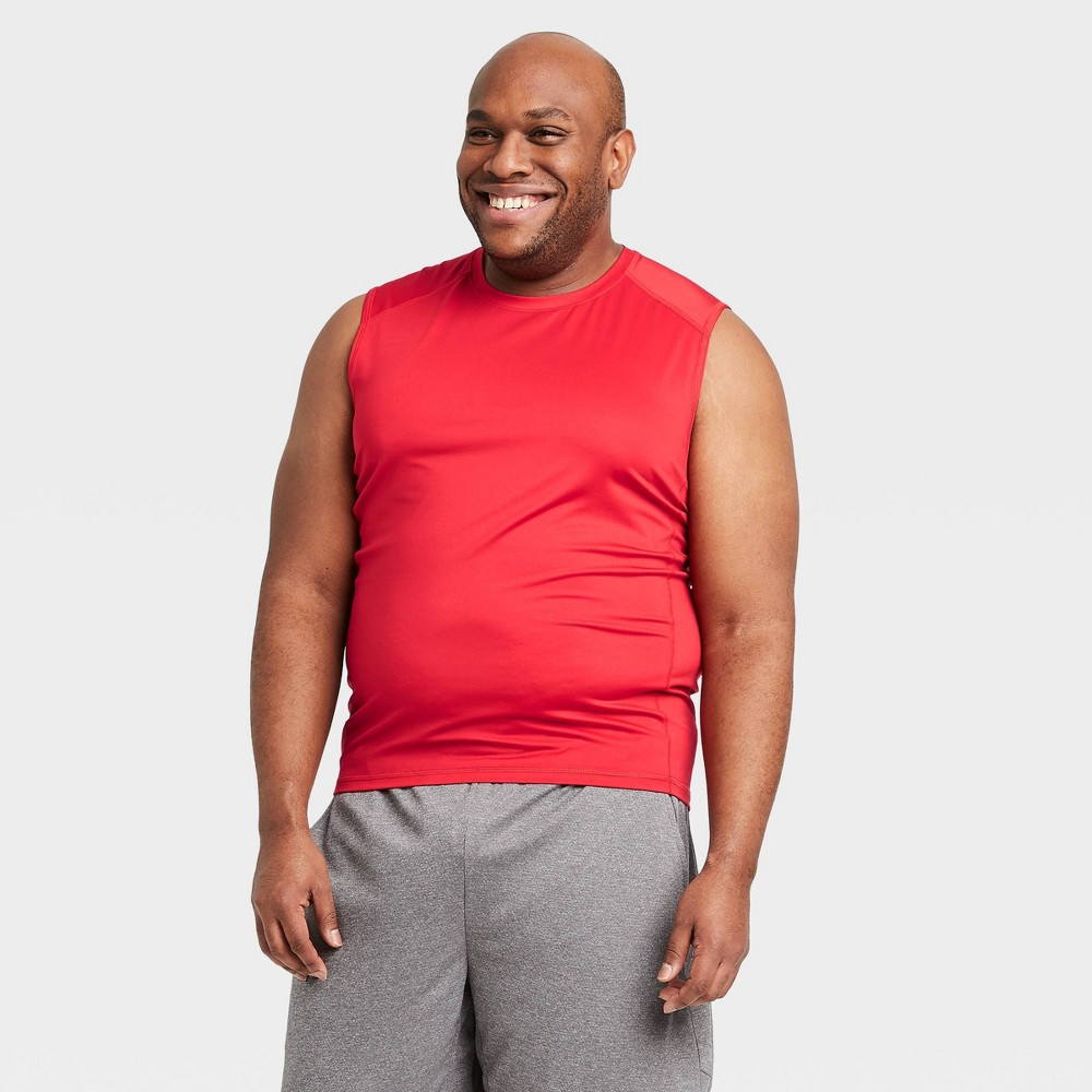 Men 39 S Sleeveless Fitted Muscle T Shirt All In Motion 8482 Red Xl