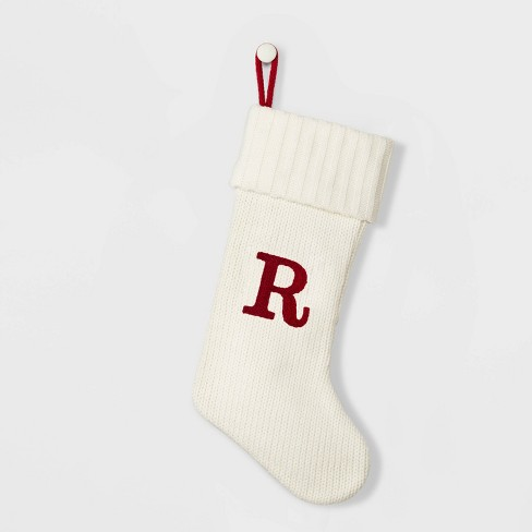 Knit Monogram Christmas Stocking White - Wondershop™ - image 1 of 1