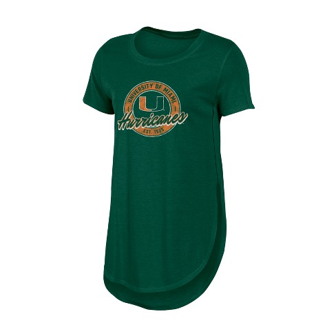 Miami Hurricanes Women's Heathered Crew Neck Tunic T-Shirt - image 1 of 1