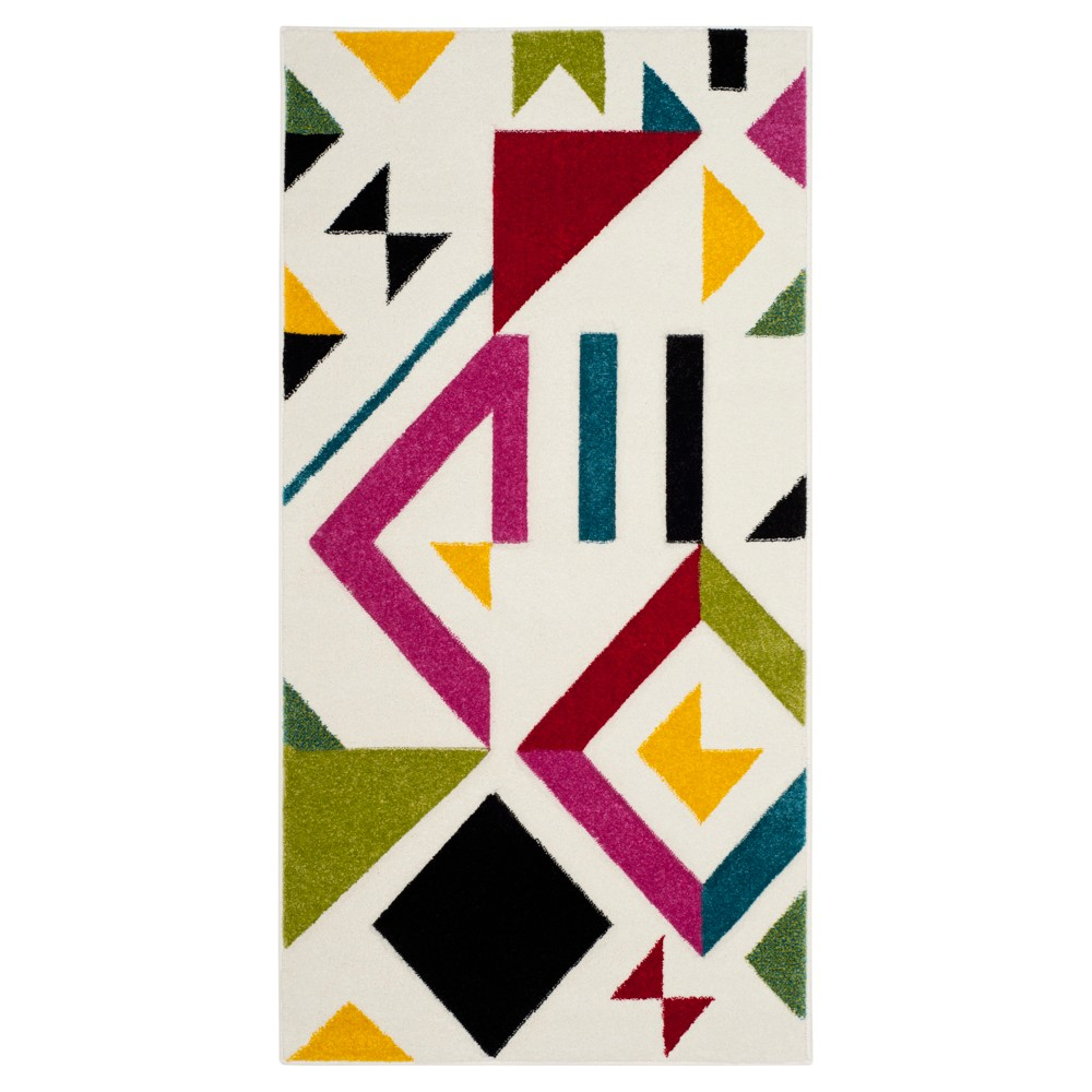 Ivory/Rose Geometric Loomed Accent Rug 2'7X5' - Safavieh, Pink White