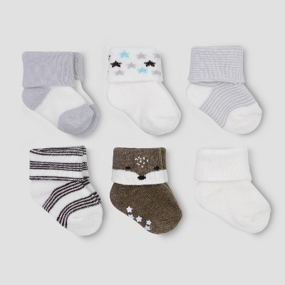 Baby Boys' 6pk Terry Fox Socks - Just One You® made by carter's White/Gray 0-3M