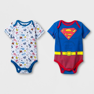 Baby Boys' 2pk DC Comics Superman Short Sleeve Bodysuit - Blue 0-3M