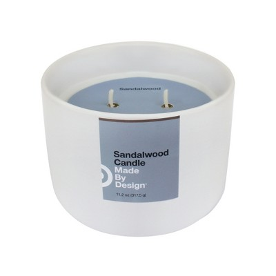11.2oz Ceramic Jar 2-Wick Candle Sandalwood - Made By Design™