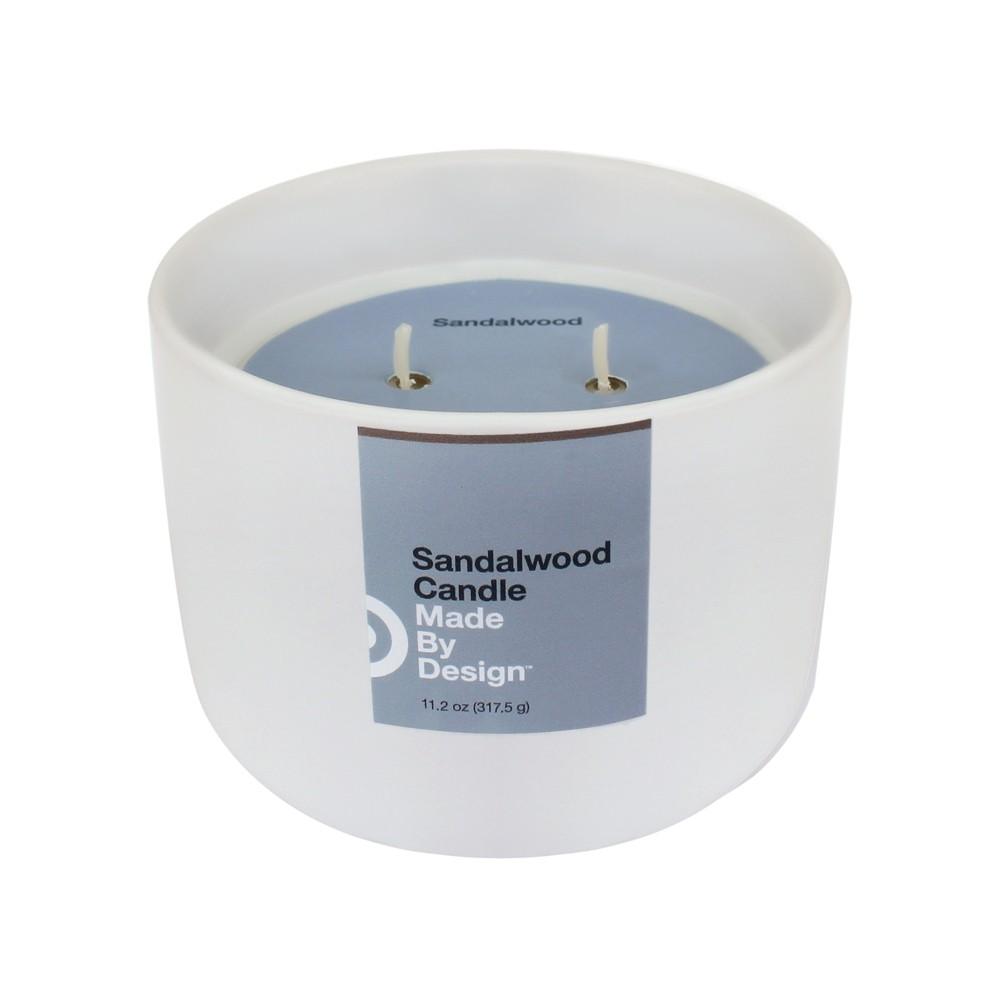 Image of 11.2oz Ceramic Jar 2-Wick Candle Sandalwood - Made By Design , White