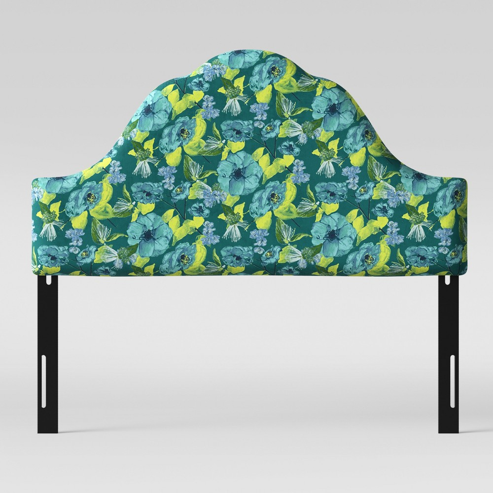 Full Zinnia Arched Headboard Green & Teal Floral - Opalhouse