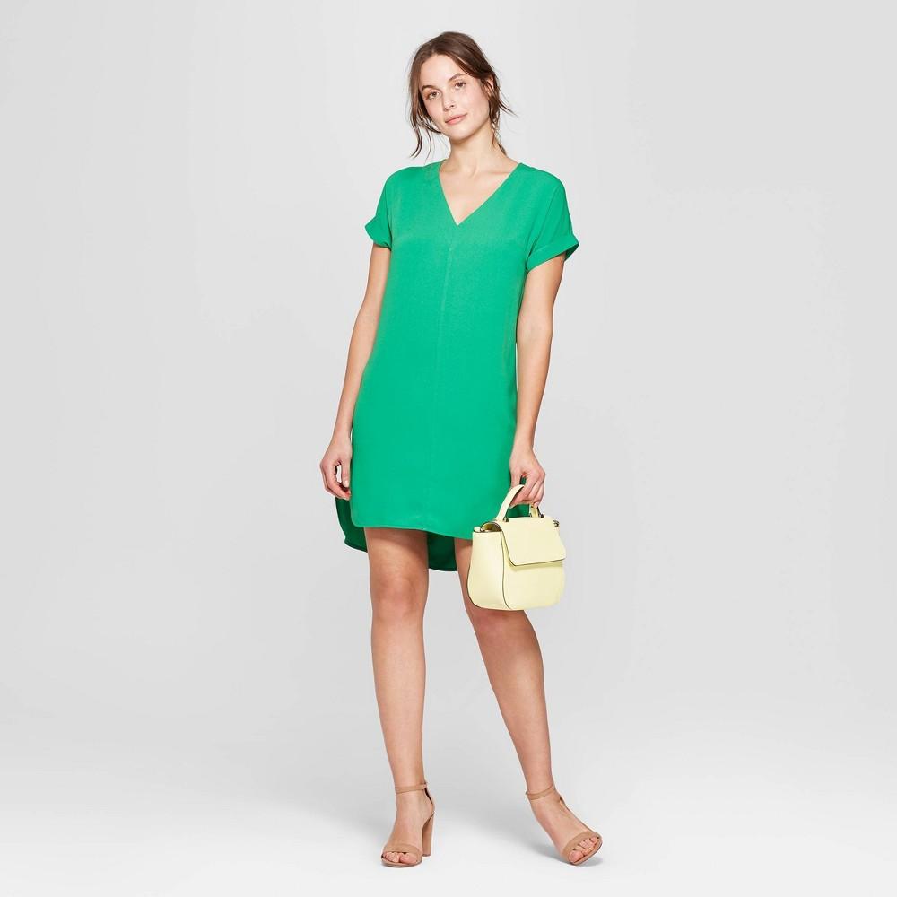 Women's Short Sleeve V-Neck Crepe Dress - A New Day Green L
