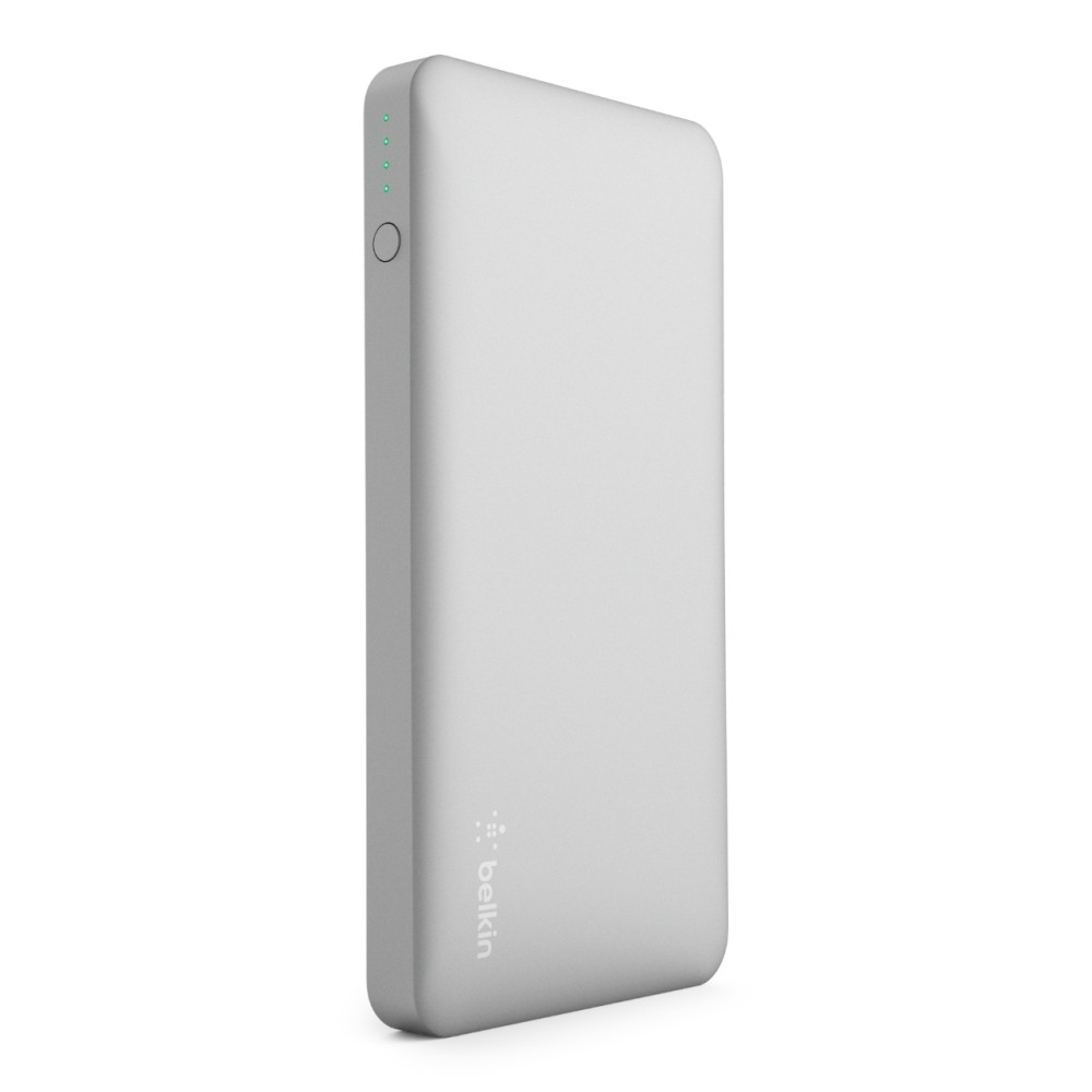 Belkin Pocket Power 10K Power Bank - Silver Stay charged anywhere with this slim and lightweight power bank that fits in your pocket or bag. 10,000 mAh recharges a smartphone up to 3 times. A universal Usb-A 2.4 amp port delivers up to 5V to quickly and safely charge devices like smartwatches, fitness bands, headphones, speakers, action cameras, and Bluetooth-enabled devices. A 5V 2.0 amp input allows the power bank to recharge quickly between uses. 10,000 mAh can recharge a smartphone up to 3 times over, providing an additional 25 hours of call time or 21 hours of web browsing (charges iPhone 7 (running iOS10) up to 3 times on a single charge in internal testing). 2 universal Usb-A ports deliver 5V 2.4 amp output so you can charge your devices in no time, just use the cable provided to begin charging. Recharge between uses quickly with 5V 2.0 amp input via a micro-Usb port. Simply connect to a wall charger or other power supply using the Micro-Usb cable provided to recharge your power bank. Color: Silver.