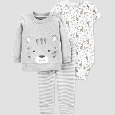 Baby Boys' 3pc Tiger Cardigan Set - Just One You® made by carter's Gray/White 9M