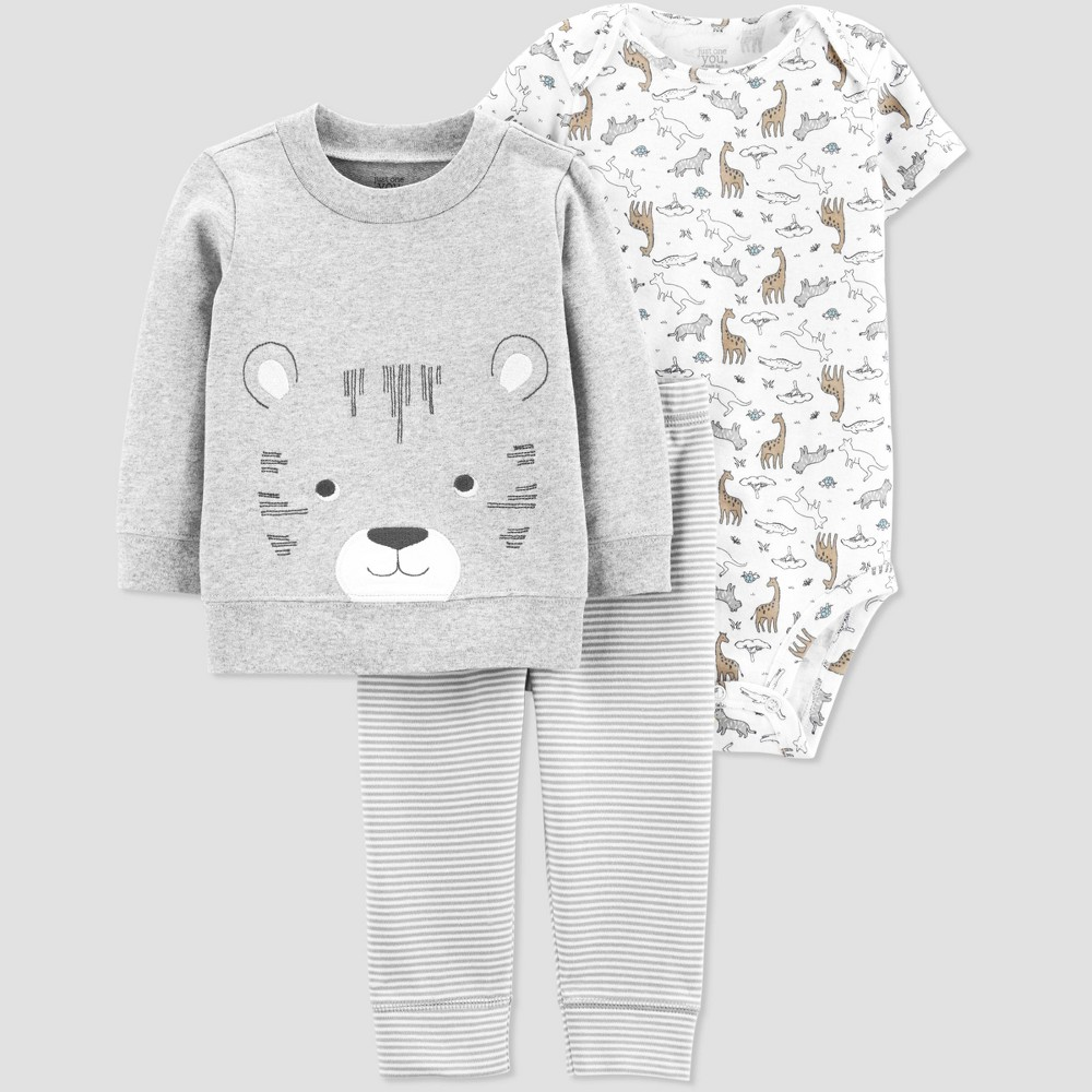 9c794df01 Baby Boys 3pc Tiger Cardigan Set Just One You made by carters GrayWhite 6M