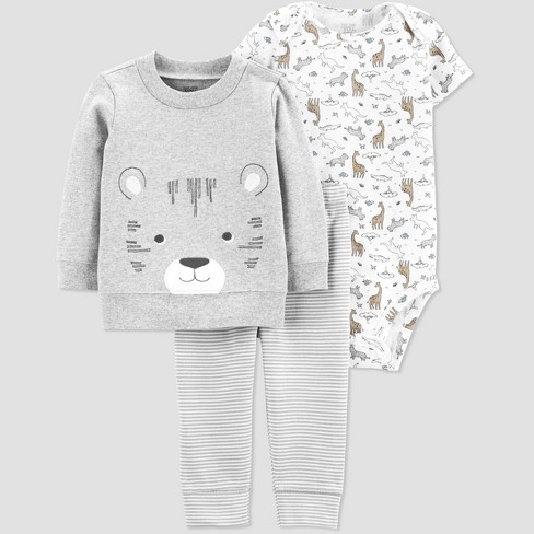 Baby Boys' 3pc Tiger Cardigan Set - Just One You® made by carter's Gray/White - image 1 of 1
