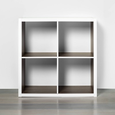 4 Cube Storage Organizer White with Wood Accents - Threshold™